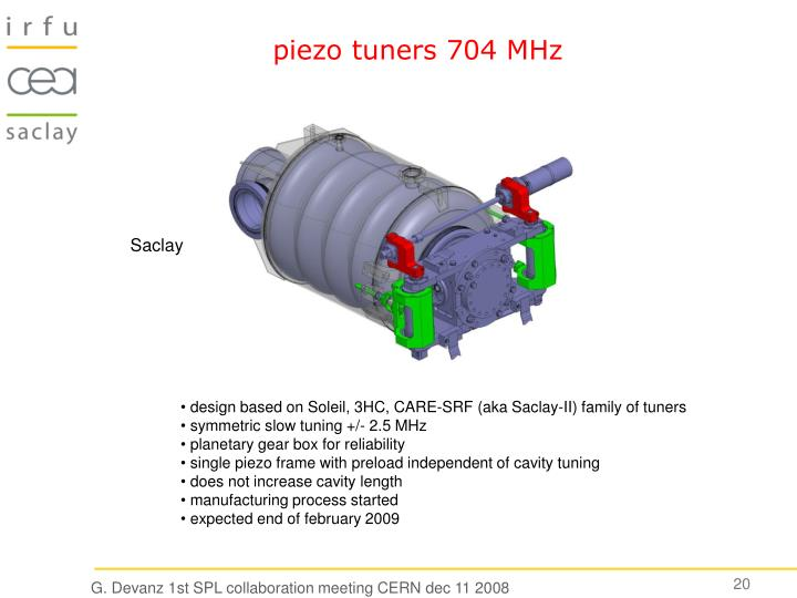 piezo tuners 704 MHz