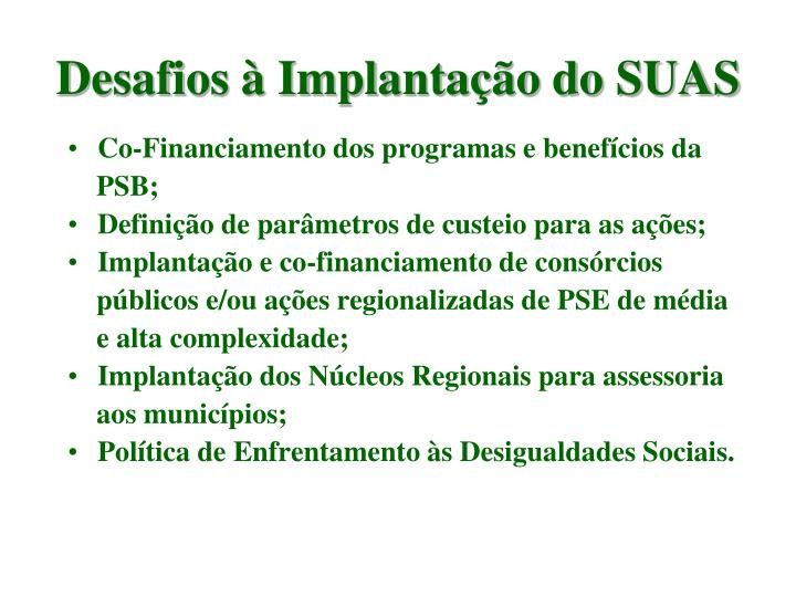 Co-Financiamento dos programas e benefícios da