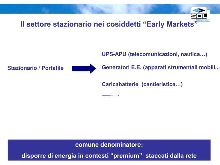 """Il settore stazionario nei cosiddetti """"Early Markets"""""""