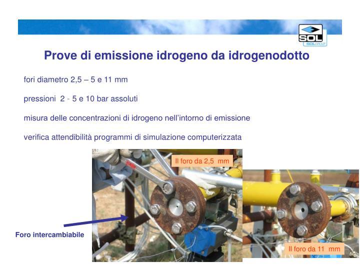 Prove di emissione idrogeno da idrogenodotto