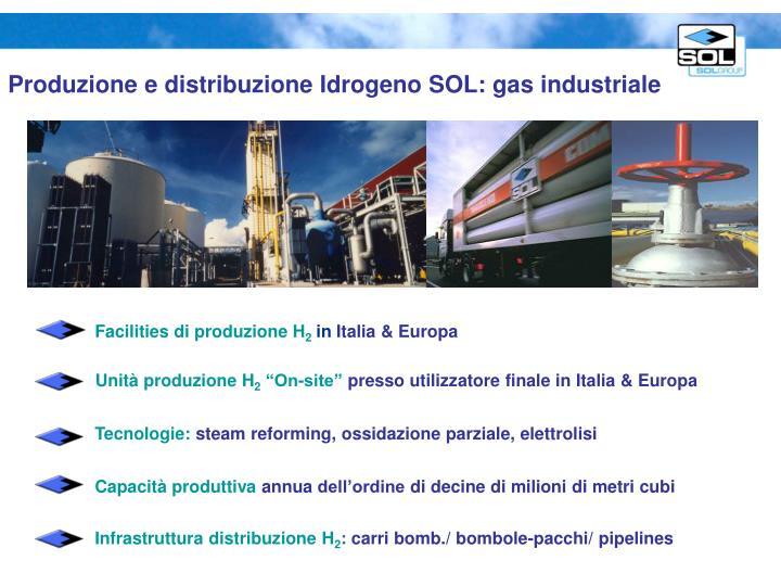 Produzione e distribuzione Idrogeno SOL: gas industriale
