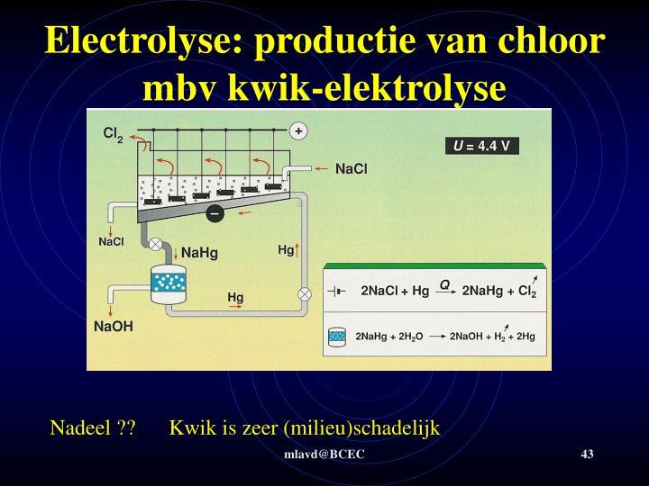 Electrolyse: productie van chloor mbv kwik-elektrolyse