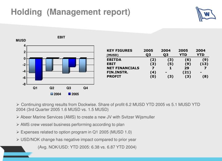 Holding  (Management report)