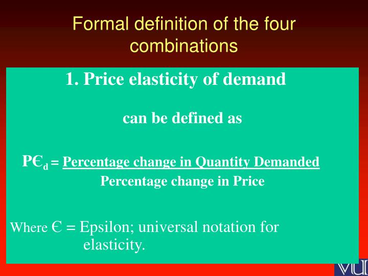 Formal definition of the four combinations