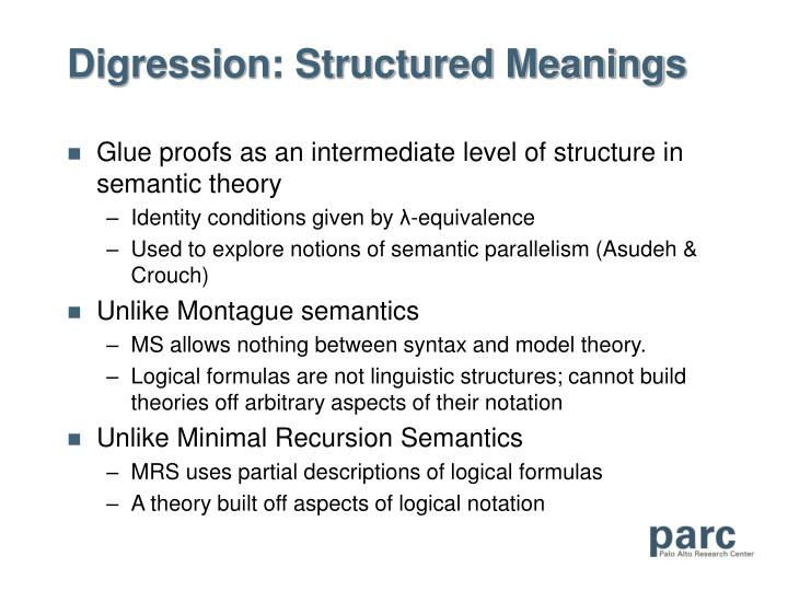 Digression: Structured Meanings