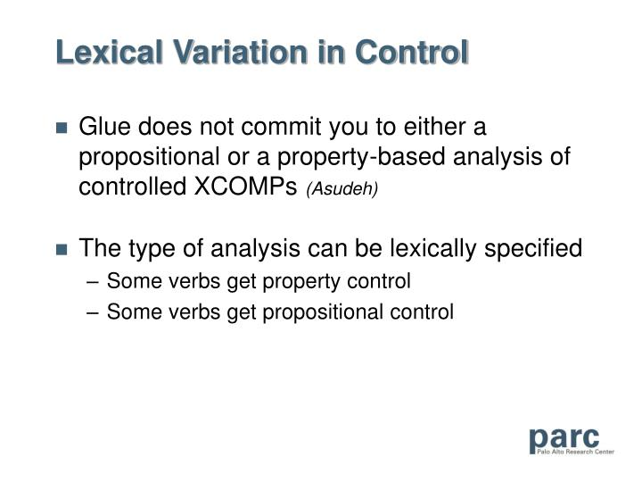 Lexical Variation in Control