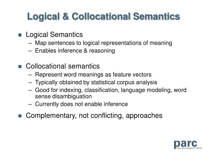 Logical & Collocational Semantics