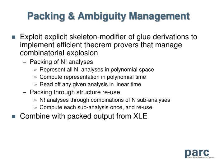Packing & Ambiguity Management