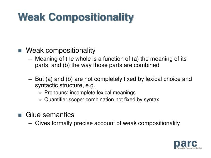 Weak Compositionality