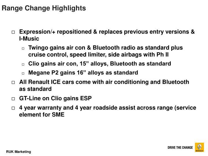 Range Change Highlights