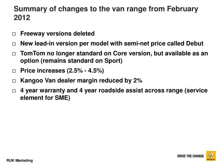Summary of changes to the van range from February 2012