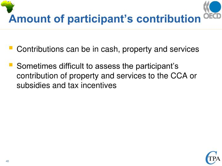 Amount of participant's contribution