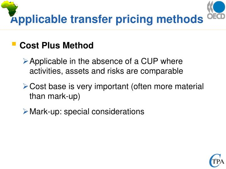 Applicable transfer pricing methods