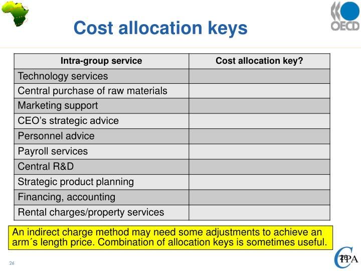 Cost allocation keys