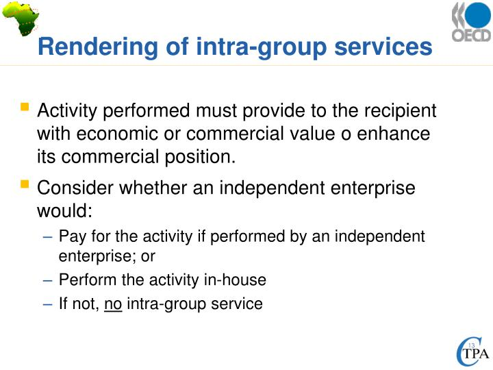 Rendering of intra-group services