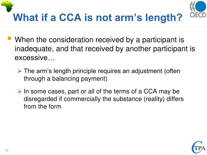 What if a CCA is not arm's length?