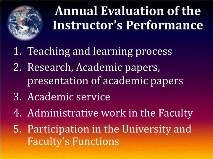 Annual Evaluation of the Instructor's Performance