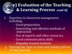 e evaluation of the teaching learning process cont d2