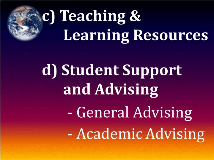 c) Teaching &  Learning Resources