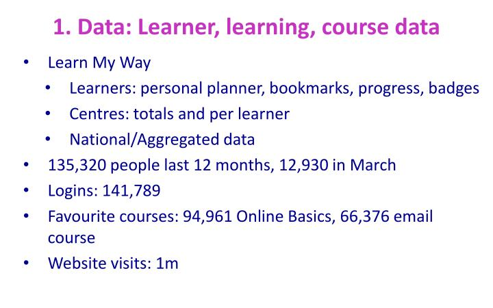 1. Data: Learner, learning, course data