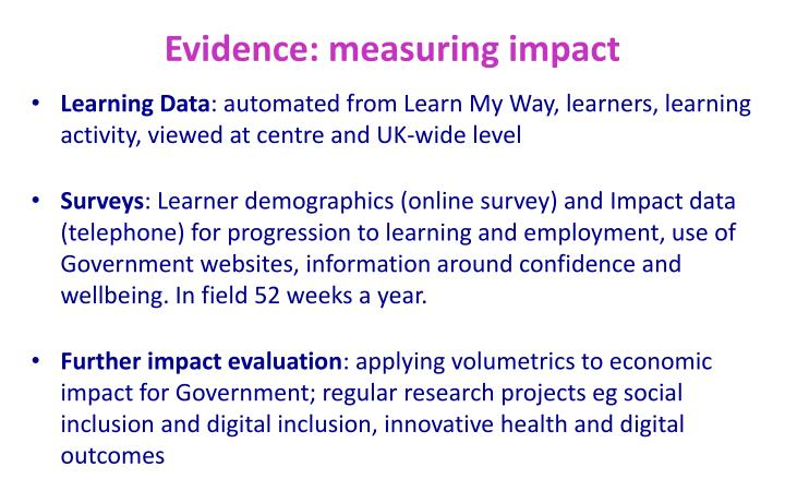 Evidence: measuring impact