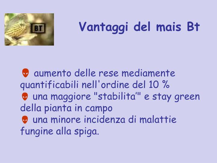 Vantaggi del mais Bt