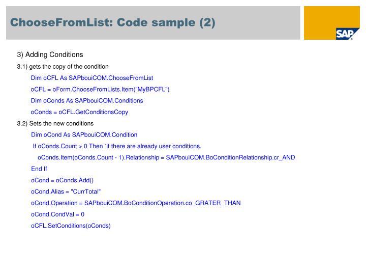 ChooseFromList: Code sample (2)