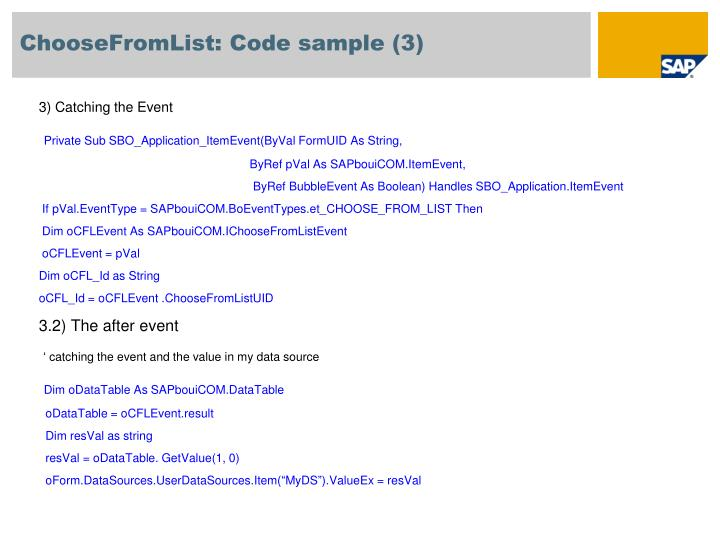 ChooseFromList: Code sample (3)