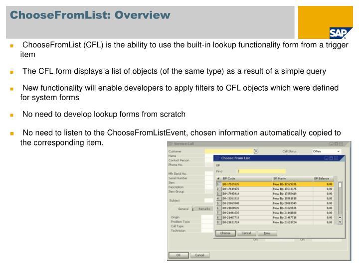 ChooseFromList: Overview