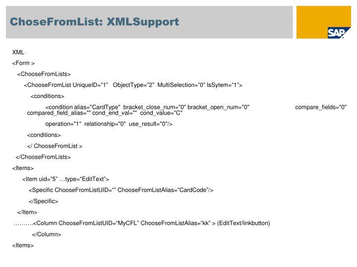 ChoseFromList: XMLSupport