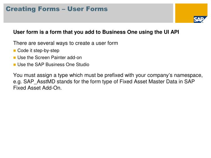Creating Forms – User Forms