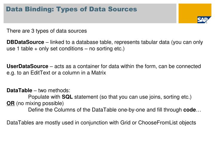 Data Binding: Types of Data Sources