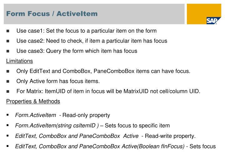 Form Focus / ActiveItem