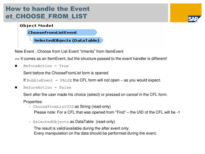 How to handle the Event et_CHOOSE_FROM_LIST