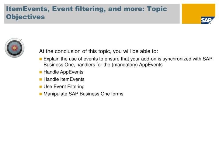 ItemEvents, Event filtering, and more: