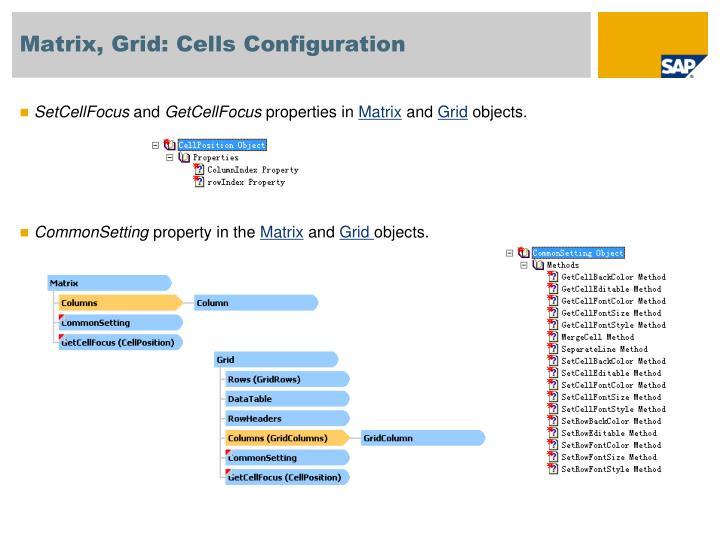 Matrix, Grid: Cells Configuration