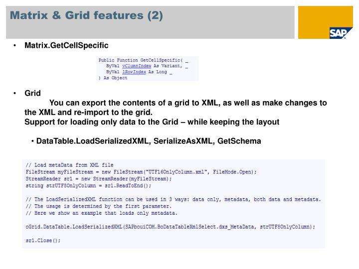 Matrix & Grid features (2)