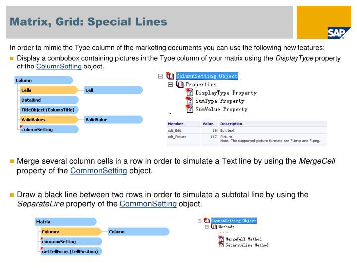 Matrix, Grid: Special Lines