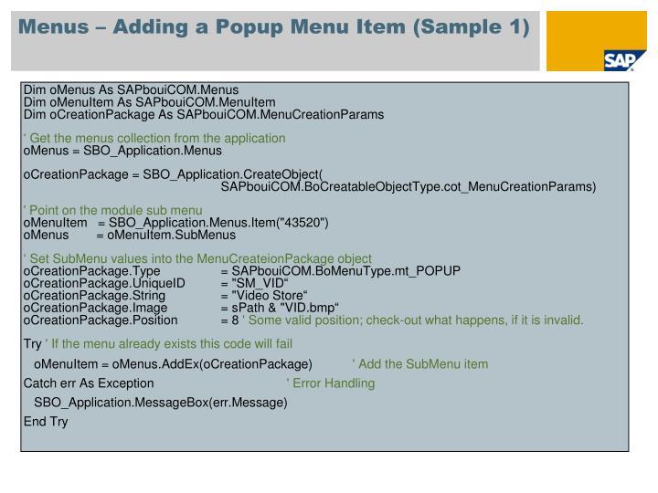 Menus – Adding a Popup Menu Item (Sample 1)