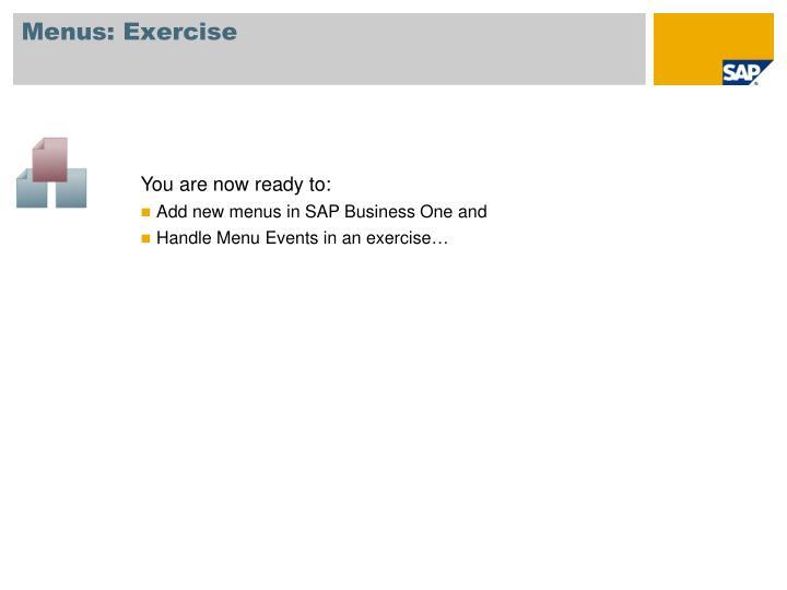 Menus: Exercise