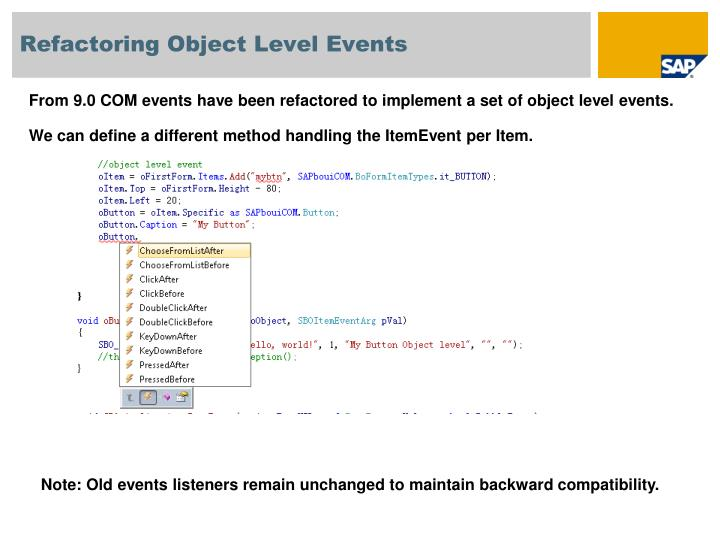 Refactoring Object Level Events