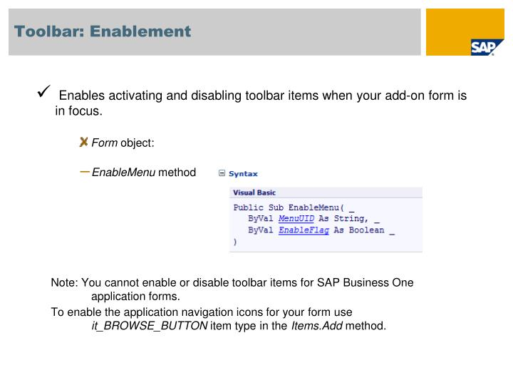 Toolbar: Enablement