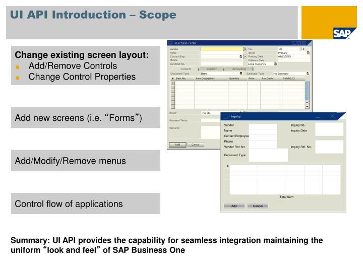 UI API Introduction – Scope