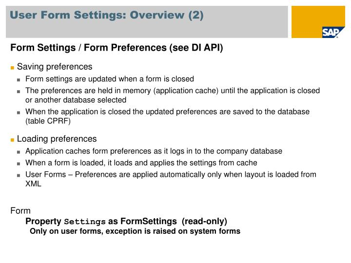User Form Settings: Overview (2)