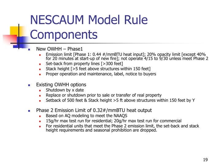 NESCAUM Model Rule Components