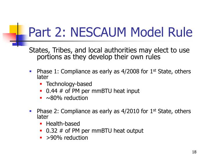 Part 2: NESCAUM Model Rule
