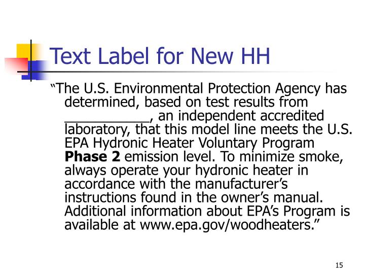 Text Label for New HH