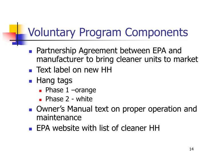 Voluntary Program Components