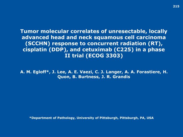 Tumor molecular correlates of unresectable, locally advanced head and neck squamous cell carcinoma (SCCHN) response to concurrent radiation (RT), cisplatin (DDP), and cetuximab (C225) in a phase II trial (ECOG 3303)