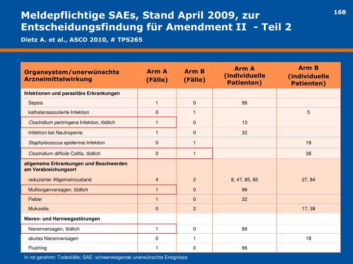 Meldepflichtige SAEs, Stand April 2009, zur Entscheidungsfindung für Amendment II  - Teil 2